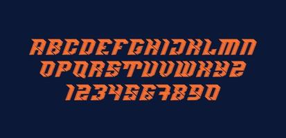 Sporty Scribble Font and Number Set vector