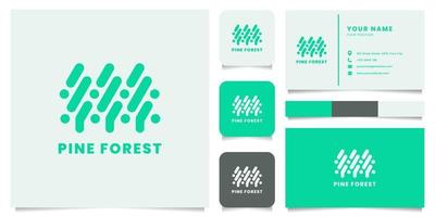 Green Pine Forest Logo with Business Card Template vector