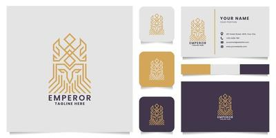 Gold Line King Pictogram Logo Business Card Template vector