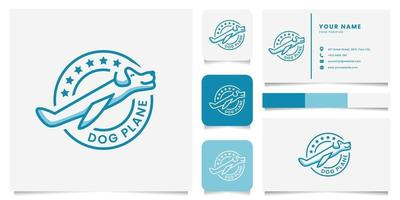 Dog Plane Emblem Logo with Business Card Template vector