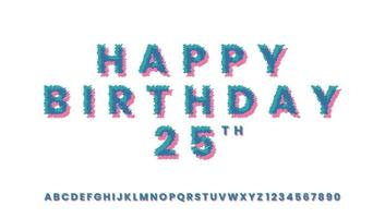 Happy Birthday Greetings with Distort Pop Style Text Effect vector