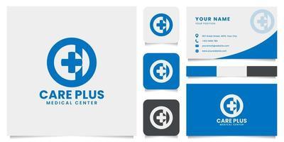 Logotipo de emblema de cruz médica simple y minimalista con plantilla de tarjeta de visita vector
