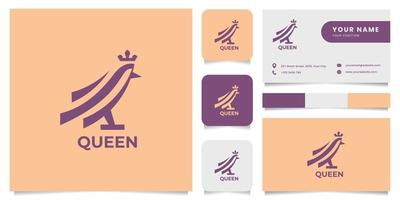 Simple and Minimalist Bird Wears Crown Logo with Business Card Template vector