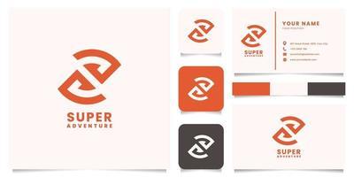 Letra de espacio negativo sy logotipo de montaña con plantilla de tarjeta de visita vector