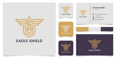 logotipo de escudo de águila de línea dorada con tarjeta de visita vector