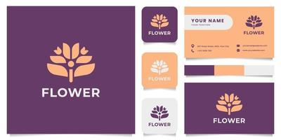 Flower Logo with Business Card Template vector