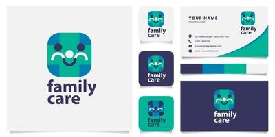 Holding Hand People Form Smile Face Logo with Business Card Template vector