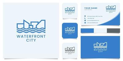 Landscape of Waterfront City Logo with Business Card Template vector