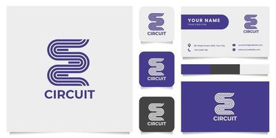 Track Race Circuit Logo with Business Card Template vector