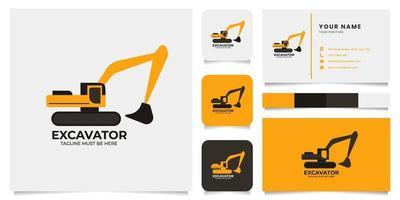 logotipo de excavadora con plantilla de tarjeta de visita vector