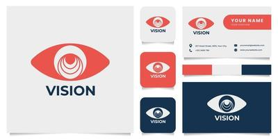 Eye Logo with Business Card Template vector