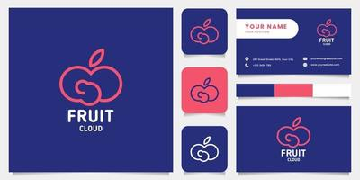 Simple and Minimalist Fruit Cloud Logo with Business Card Template vector