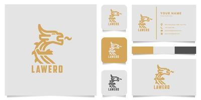 logotipo de dragón con plantilla de tarjeta de visita vector