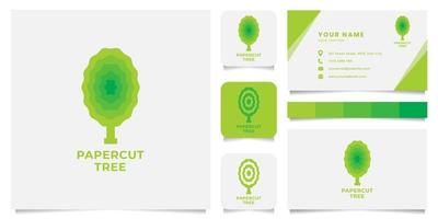 Papercut Tree Logo with Business Card Template vector