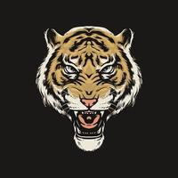 Tiger head roaring vector