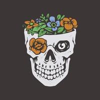 Flower nature skull vector