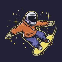 Astronaut skateboarding in space vector