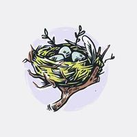 Bird Nest Illustration vector