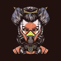 Mecha geisha hand drawn illustration vector