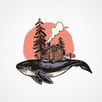 Adventure Whale Illustration vector