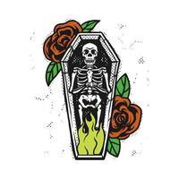 quemar esqueleto en ataúd vector