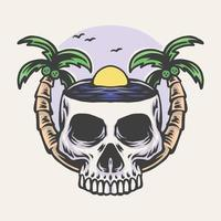 Ilustración de vector dibujado a mano calavera playa
