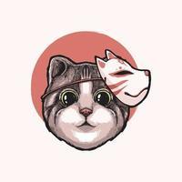 Ilustración de diseño de gato kitsune vector