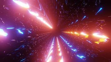 luces de neón en movimiento azul y naranja 3d ilustración vj loop video