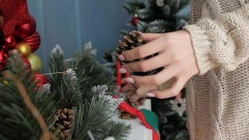 Girl Decorates Her House for The Holidays