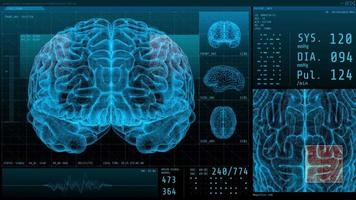 3D Brain and vital signs with statistical data neurology display video