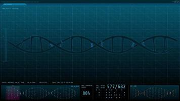 3D animation graphic of human DNA on computer screen