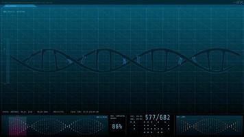 Gráfico de animación 3D de adn humano en la pantalla de la computadora