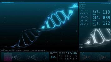 3D animation graphic of human DNA on computer screen video