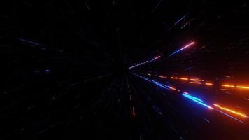 astratto in movimento arancione e blu luci al neon 3d illustrazione vj loop video