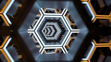 Futuristic Hex tunnel neon lights and motion loop animation video