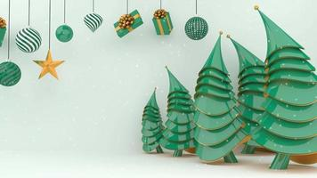 grüne Weihnachtsbäume und Dekorationen mit Schnee