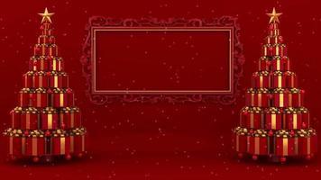 Cajas de regalo formando árboles de Navidad con bastidor en la pared