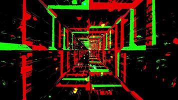 túnel de efeitos de cores piscando verde e vermelho video