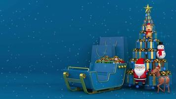Anzeige mit Geschenkboxen, die einen Weihnachtsbaum bilden