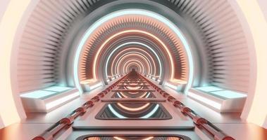 movimento circular corredor sci-fi neon