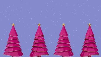 arbol de navidad rosa con nieve