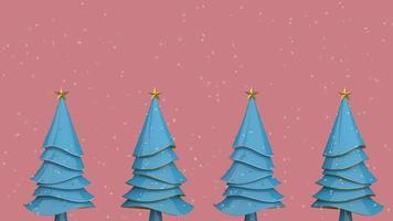 blaue Weihnachtsbäume mit Schnee