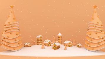 Dorf auf schneebedeckten Bergen mit Weihnachtsbäumen.