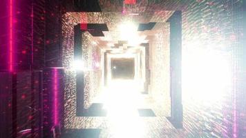 luces de neón rojas frescas túnel de la nave espacial video