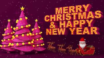 Pink Merry Christmas and Happy New Year video