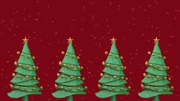 grüne Weihnachtsbäume mit goldenen Kugeln geschmückt