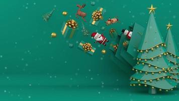 árboles de navidad verdes y bolsas de compras