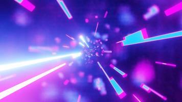 galassia di particelle al neon rosa e blu
