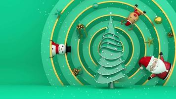 árvore de natal em um círculo decorado video