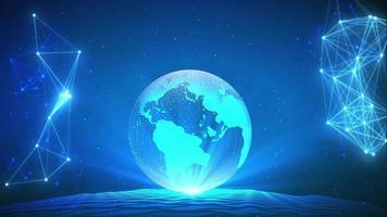 planeta tierra digital girando en el espacio video